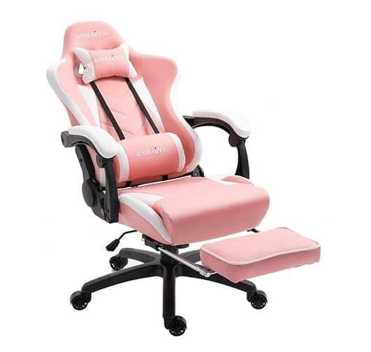 Silla gamer de color rosa marca Dowinx, con reposapiés y masaje