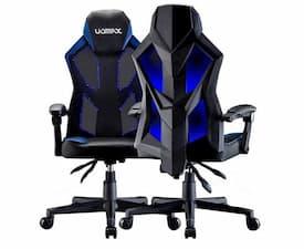 Silla gamer con luces Uomax azul y negra